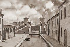 Ancentbrug in Comacchio, Italië Stock Afbeelding