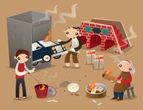 Ancestor worship by burning paper offerings on the street. Vector illustration of people make ancestor worship by burning paper offerings on the street of Hong vector illustration