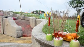 Ancestor Worshipping and Sacrificial offering in the Qingming Festival stock video