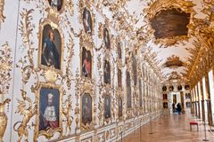 Ancestral Gallery and Porcelain Cabinet, Residenz, Munich, Germany. Over 100 portraits of members of the Wittelsbach family are let into the carved gilt royalty free stock photography