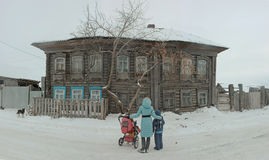 The ancestral house. The family went to the ancestral home, the family history of the Siberian village Stock Images