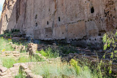 Ancestral Pueblo Homes, Bandelier National Monument. Cliff dwellings located in New Mexico Royalty Free Stock Photo