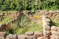 Ancestral Pueblo Homes, Bandelier National Monument. Old stone structures, dwellings located in New Mexico Stock Photo