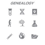 Ancestry or Genealogy Icon Set with Family Tree Album, DNA, beak vector illustration