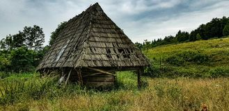 Ancestry. Old deserted sheep stable in Apuseni mountains royalty free stock images