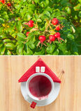Anche e tazze di tè caldo Fotografia Stock
