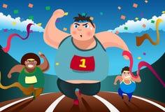 Anche gli uomini grassi possono funzionare Immagine Stock