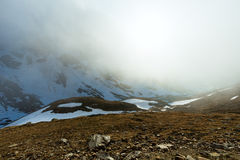 Anche Mountain View nebbioso (Timmelsjoch, Austria) Immagine Stock