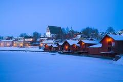 Anche paesaggio dell'inverno vecchio Porvoo finland Fotografia Stock Libera da Diritti