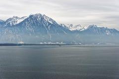 Anche vista panoramica al lago Lemano da Montreux in Switzerla Fotografia Stock
