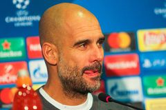 Anchester-Stadt F C Cheftrainer Pep Guardiola Stockbilder