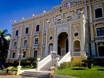 Anchieta Palace. Yellow and white façade of Anchieta Palace stock image