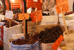 Ancho and other dried chilis for sale, Royalty Free Stock Photography