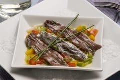 anchoas鲥鱼用了卤汁泡西班牙塔帕纤维布 库存照片