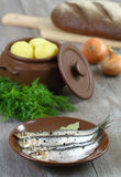 Anchoas y patatas hervidas. Imagen de archivo