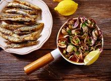 Anchois espagnols de palourdes de tapas de fruits de mer Image libre de droits