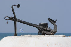 Anchor. Old Anchor with Israeli Flag stock photo