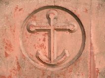Anchor. Sign in concrete wall Royalty Free Stock Images