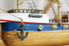 "Anchor. Model of a historic ship ""Golden Hind Stock Image"