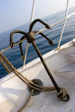 Anchor. A rusty anchor of a yacht on the red sea Royalty Free Stock Photography