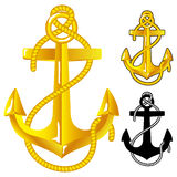 Anchor. Gold Anchor. Vctor illustration on white background Royalty Free Stock Photo