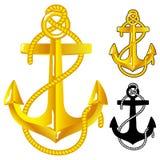 Anchor. Gold Anchor. Vctor illustration on white background Stock Illustration