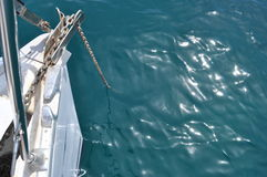 Anchor. Ed boat in the sea Royalty Free Stock Photos