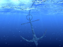 Anchor. 3d render of anchor. Underwater picture Royalty Free Stock Photos