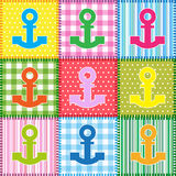Anchor. Patchwork  with colorful anchors.Seamless baby background Royalty Free Stock Photos