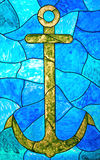 Anchor. Blue Stained Glass Window with and Anchor Royalty Free Stock Images