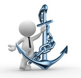 Anchor. 3d people - man, person with metal anchor and chain Stock Photography