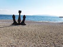 Anchor on the beach. Anchor on a beach, near the sea. Opatija Croatia royalty free stock photo