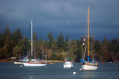 At anchor. Sailboats in the harbor on a stormy day Royalty Free Stock Photo