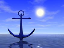 Anchor. In the blue sea. 3d render Stock Image