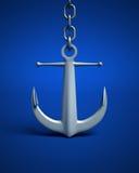 Anchor. Sailing ship anchor silver on blue Stock Image