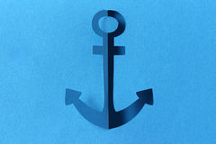 Anchor abstract blue paper cut Stock Images