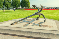 The anchor of ages of the Peter the Great at The Old Stock Exchange square. Royalty Free Stock Image