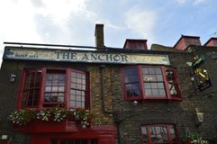 The Anchor Inn on Bankside in London Uk. The Anchor Bankside is a pub in the London Borough of Southwark,it was built in 1616.This pub is the sole survivor of royalty free stock photography