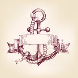 Anchor with a banner hand drawn vector llustration. Realistic sketch vector illustration