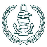 Anchor with Banner and laurel. Vector Royalty Free Stock Photography