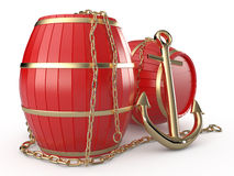 Anchor, barrels and chain, 3D. Anchor, barrels and chain on white background, 3D Stock Image