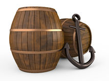 Anchor and barrels, 3D. Anchor and barrels on white background, 3D Royalty Free Stock Photos