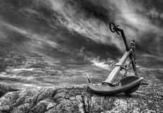 Anchor on a beach royalty free stock image
