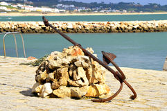 Anchor at the Bensafrim river in Lagos harbour Royalty Free Stock Images