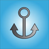 Anchor on blue background. Grey anchor on blue background. Vector illustration Stock Photos
