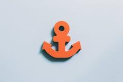 Anchor on blue background, summer marine decoration Stock Images