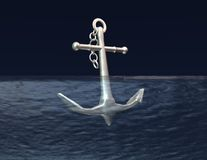 Anchor in  blue water  aim, purpose concept Stock Images