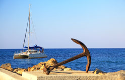 Anchor & boat Stock Image