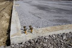 Anchor bolts on a cement footing. New construction Stock Photography