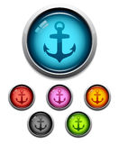 Anchor button icon. Glossy anchor button icon set in 6 colors Royalty Free Stock Photography